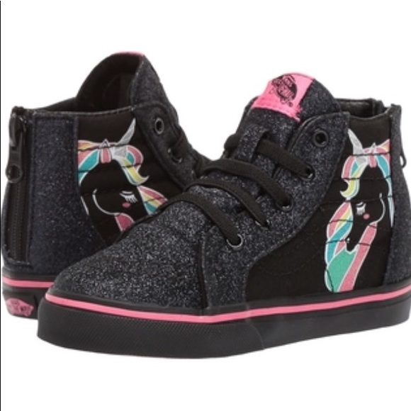 50e61961e4 Vans Sk8Hi Zip Unicorn Rainbow Black Glitter shoes NWT